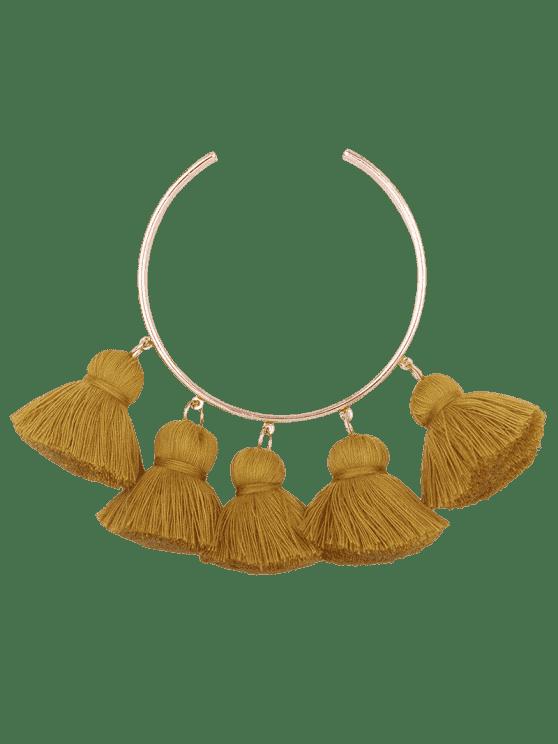 buy Alloy Charm Tassel Cuff Bangle Bracelet - GINGER
