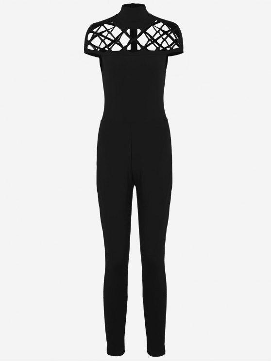 latest High Neck Cut Out Jumpsuit - BLACK L