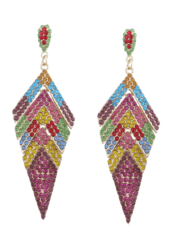 buy Sparkly Rhinestoned Geometric Dangle Earrings - COLORMIX
