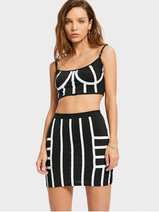fashion Cropped Striped Top and Bodycon Mini Skirt - WHITE AND BLACK XL