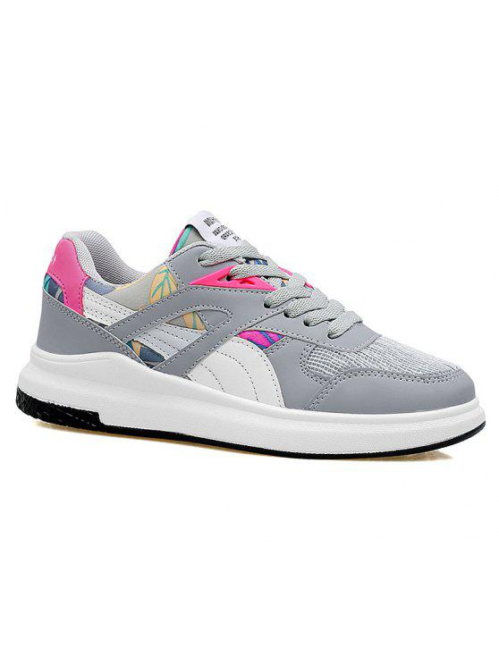 hot Color Block Mesh Running Athletic Shoes - GREY AND WHITE 39