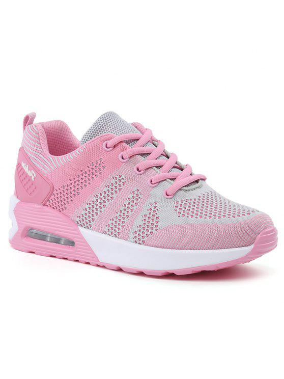 hot Color Block Breathable Air Cushion Athletic Shoes - PINK AND GREY 39