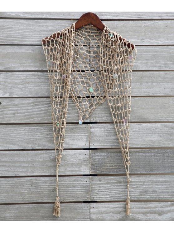 chic Sequin Crochet Sarong - KHAKI ONE SIZE