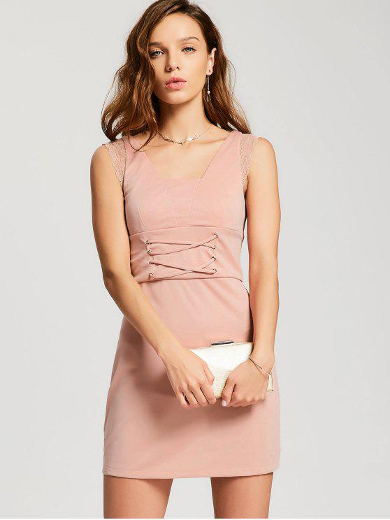 women Lace-up Lace Panel Party Dress - PINK XL