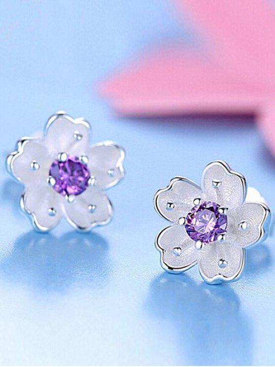 Boucles d'oreilles à fleurs avec faux cristal - Pourpre