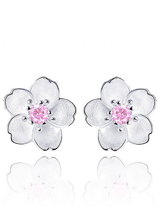 Blumen-Ohrstecker mit Faux-Kristall - Pink