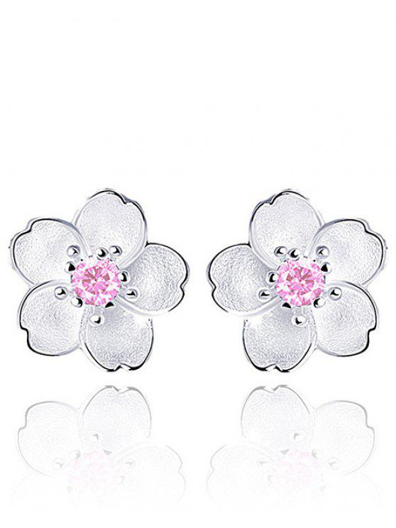 Pendientes florales con falso cristal - Rosa