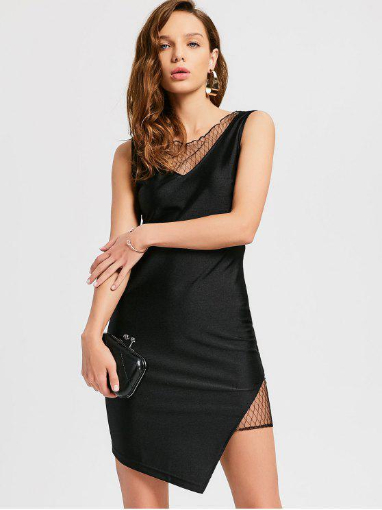 lady Mesh Panel Asymmetrical Party Dress - BLACK M