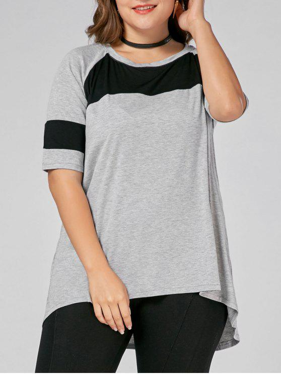 affordable Color Block Plus Size High Low Long T-shirt - GRAY 6XL