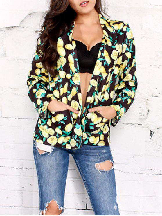 fashion Open Front Shawl Collar Lemon Print Blazer - BLACK 2XL