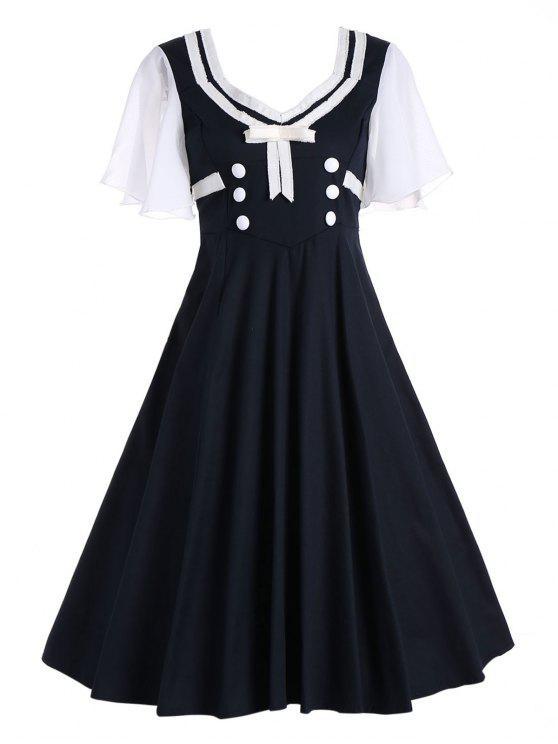 50s فستان زر قصيرة وتوهج الأكمام سوينغ - أسود M