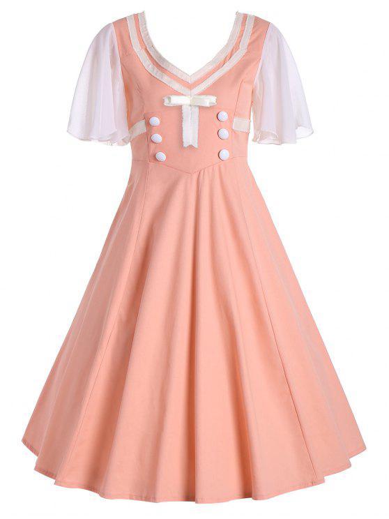 50s فستان زر قصيرة وتوهج الأكمام سوينغ - اورانغيوردي M