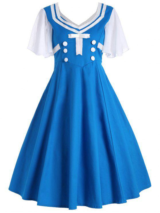 50s فستان زر قصيرة وتوهج الأكمام سوينغ - الضوء الأزرق L