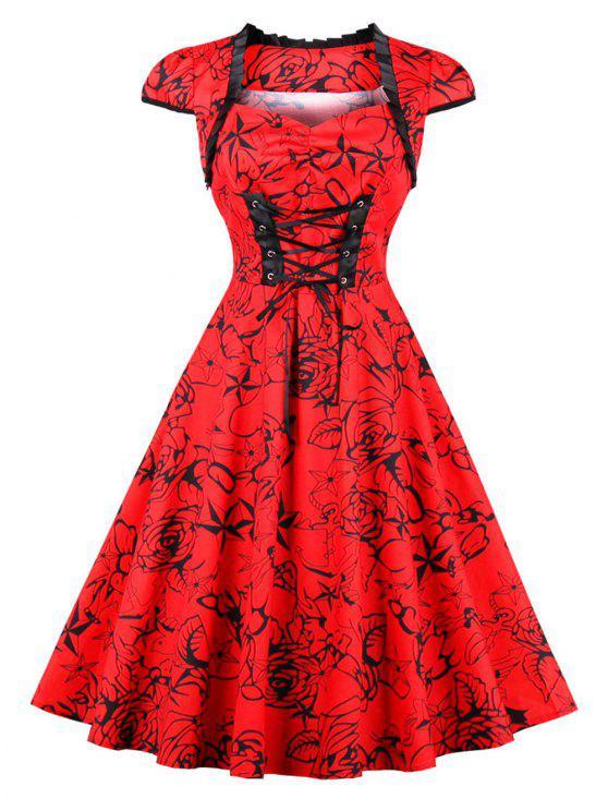 فستان كلاسيكي الرباط طباعة الأزهار - أحمر 2XL
