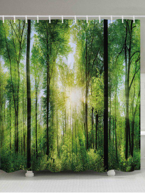 الغابات الشمس الطباعة ماء الحمام دش الستار - GREEN W59 بوصة * L71 بوصة