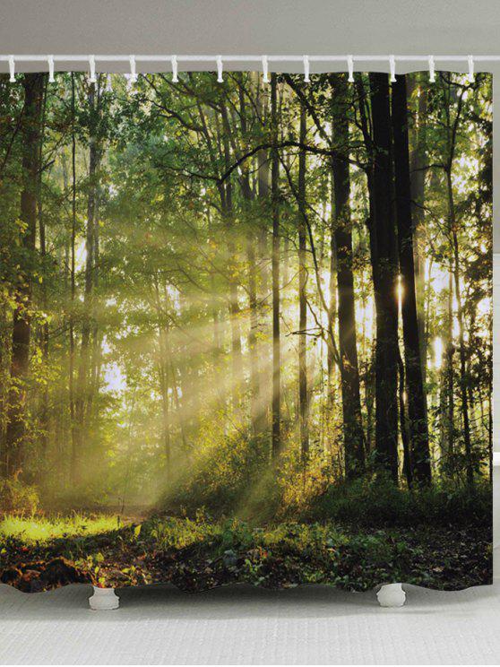 الغابات الأشجار الشمس طباعة ماء حمام دش الستار - أخضر W59 بوصة * L71 بوصة
