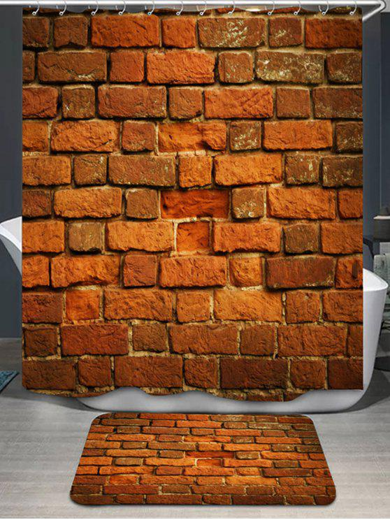 Brick Wall Printed Shower Curtain And Rug