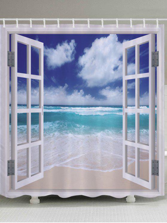 نافذة الشاطئ موجة الطباعة ماء الحمام دش الستار - أزرق W71 بوصة * L79 بوصة