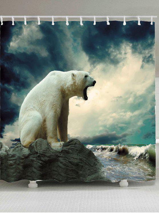 الدب القطبي المطبوعة للماء دش الستار - مزيج ملون W71 بوصة * L79 بوصة