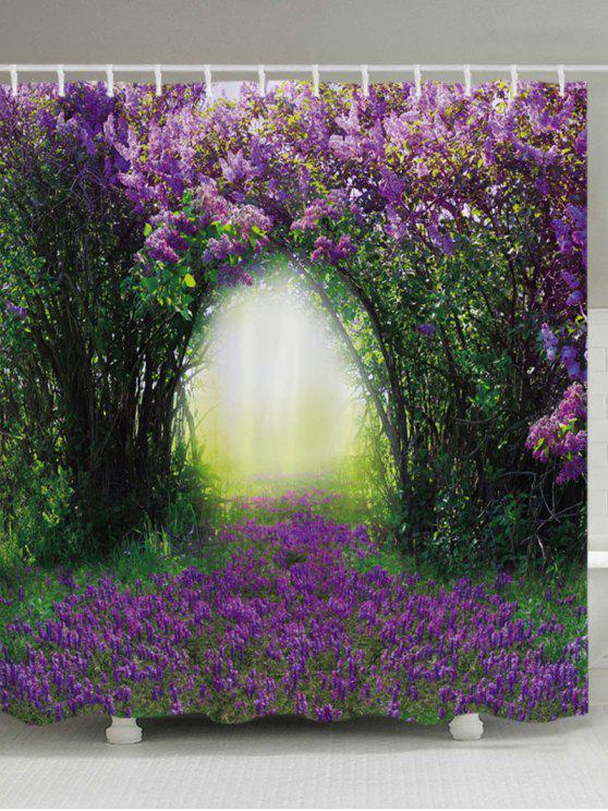 الأزهار شجرة هول طباعة ماء الحمام دش الستار - أرجواني W59 بوصة * L71 بوصة