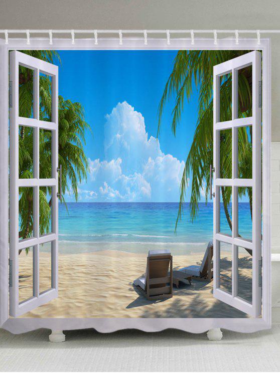ستار للدش مضاد للماء بطبعة نافذة على الشاطئ - أزرق W59 بوصة * L71 بوصة
