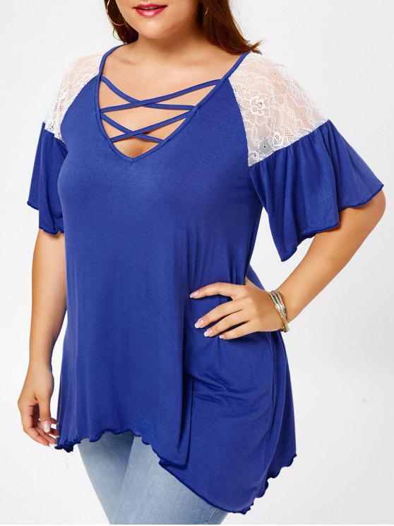 T-shirt Grande Taille Tunique Croisé à Manches Évasées - Bleu 3XL