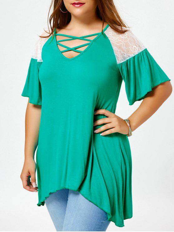 T-shirt com túnica de ombro Cross Cross - Verde 2XL