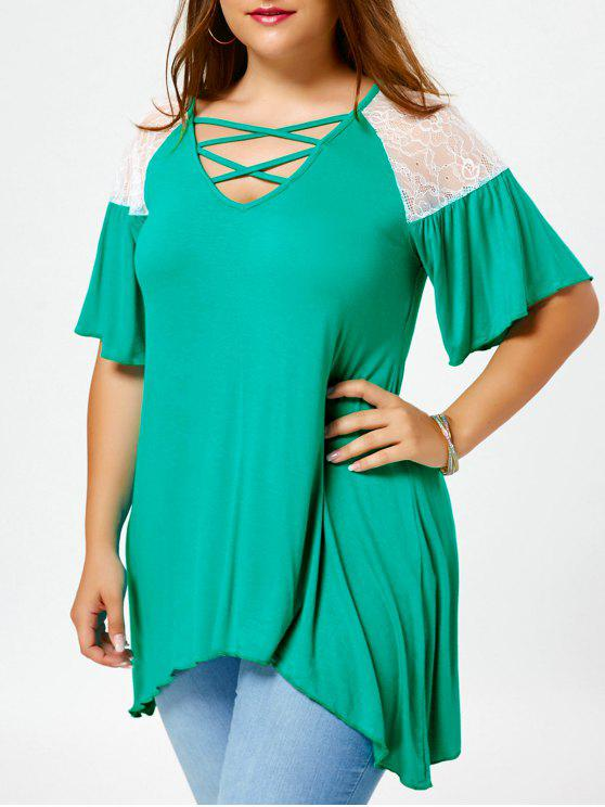 T-Shirt A Tunica Plus Size A Spalle Oblique Con Lacci Incrociati - Verde XL
