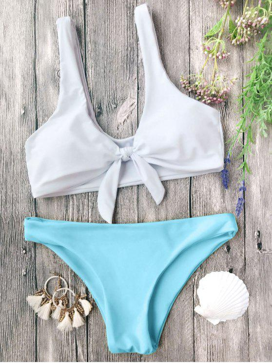 Juego de bikini nudoso acolchado Bralette - Azul y Blanco S