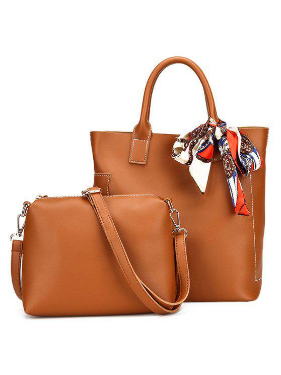 حقيبة من الجلد الصناعي مع وشاح - BROWN