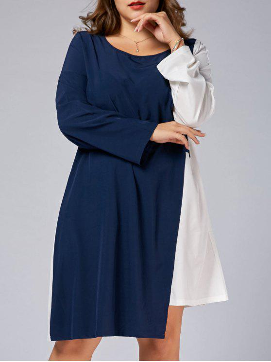Plus Size Color Block Business Dress with Sleeves BLUE AND WHITE