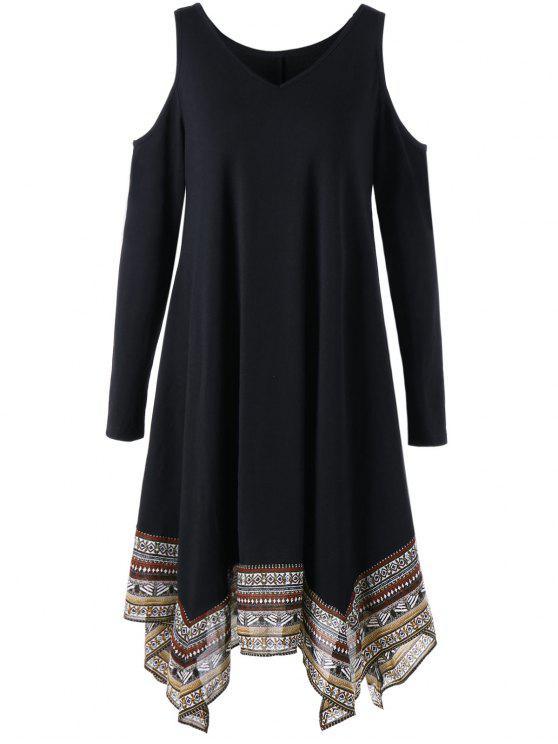 فستان منديل طباعة - أسود 2XL