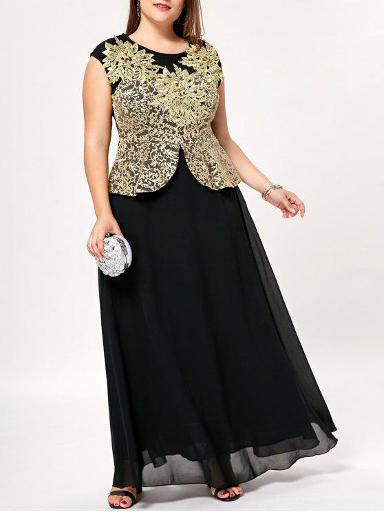 Plus Size Floral Floor Length Peplum Dress BLACK