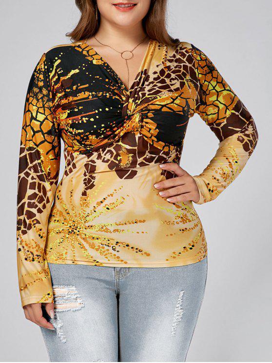 T-shirt com nó de manga comprida Leopard Printed Plus Size - Amarelo 4XL