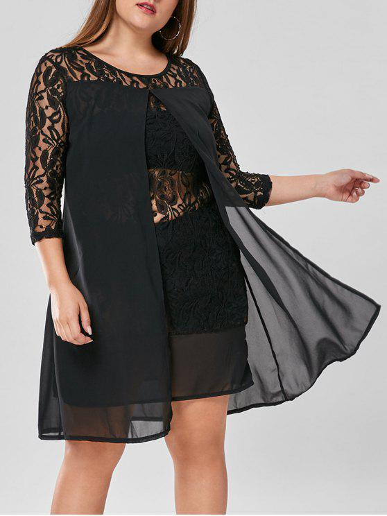 27% OFF] 2019 Plus Size Lace Trim Knee Length Dress In BLACK | ZAFUL