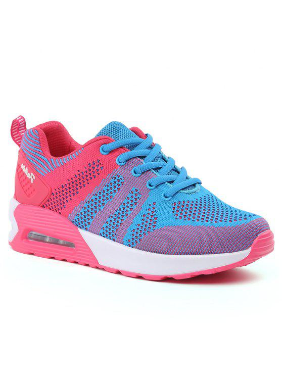 chic Color Block Breathable Air Cushion Athletic Shoes - BLUE AND PINK 37