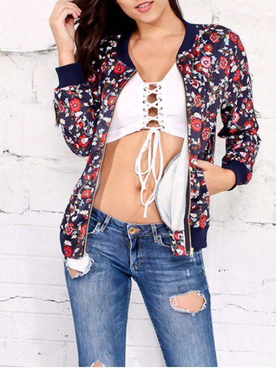 Jacke mit Blumendruck und Reißverschluss - Cadetblue L