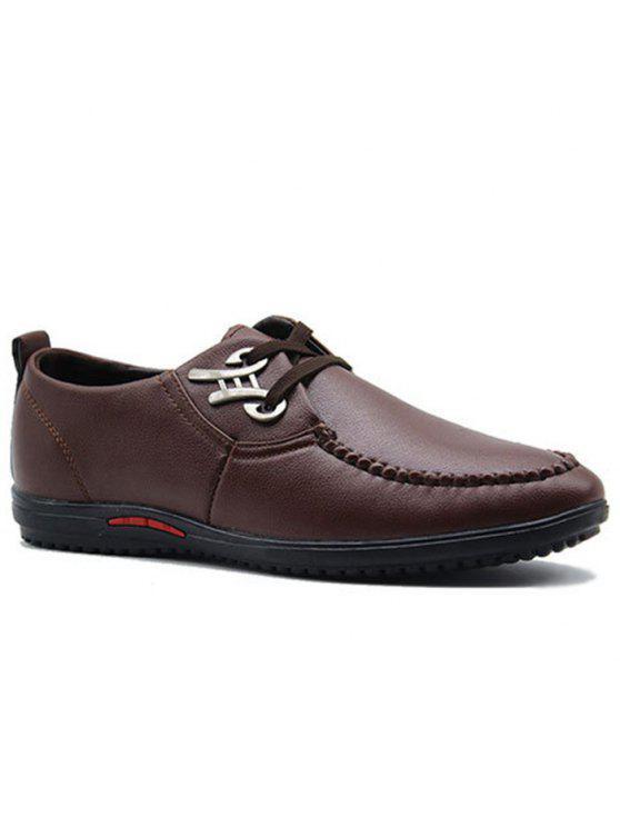 فو الجلود معدن الزينة عارضة الأحذية - BROWN 44
