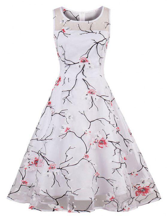 dd0b3418 2018 Floral Print Organza Skater Dress In RED XL | ZAFUL
