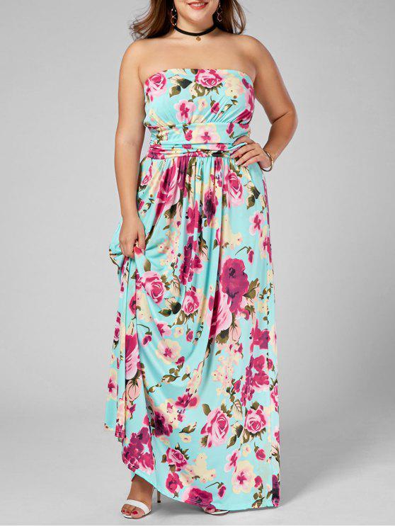 Floor Length Floral Plus Size Strapless Dress