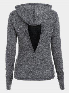 Heathered Back Crossover Cut Out Sudadera Con Capucha Deportiva - Gris M