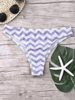 Chevron Bikini Badehose - Weiß  + Lila S