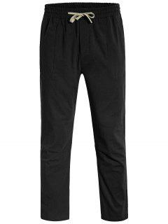 Casual Pockets Drawstring Pants - Black L