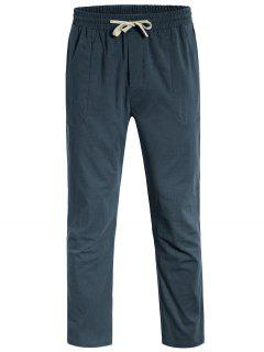 Casual Pockets Drawstring Pants - Atlantis L