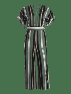 Belted Stripes Wide Leg Jumpsuit - Stripe L