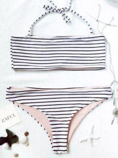 Striped Bandeau Bikini Set - White And Black M