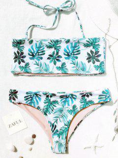 Palm Leaf Tropical Bandeau Bikini Set - White And Green M