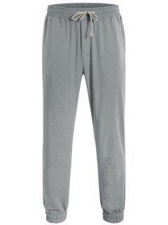 Men Drawstring Jogger Pants - Gray L