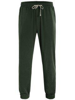 Men Drawstring Jogger Pants - Army Green L