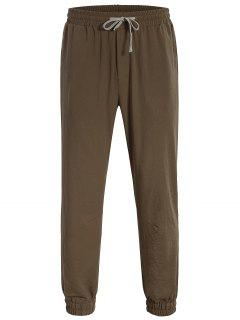 Men Drawstring Jogger Pants - Coffee L